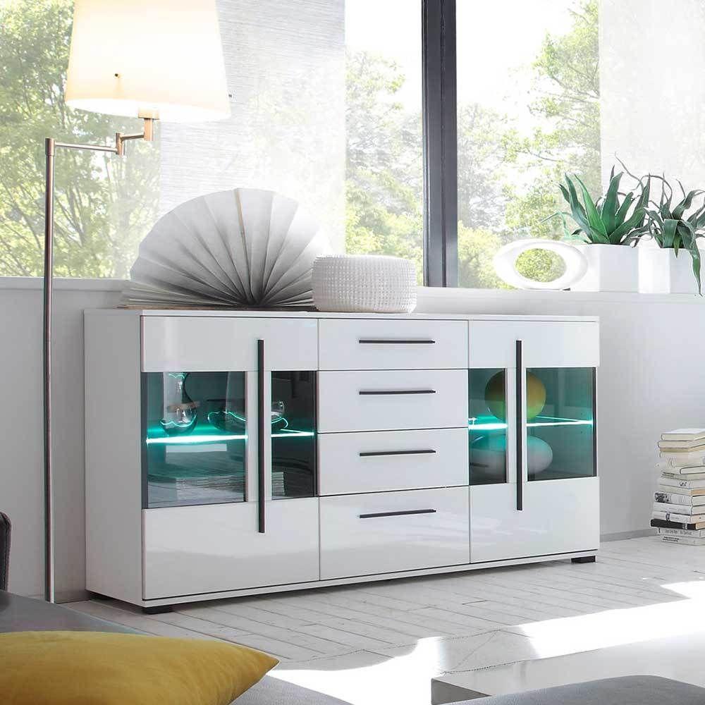Cool Sideboard Mit Glastüren Referenz Von Wohnzimmer In Weiß Hochglanz Glastüren Jetzt Bestellen