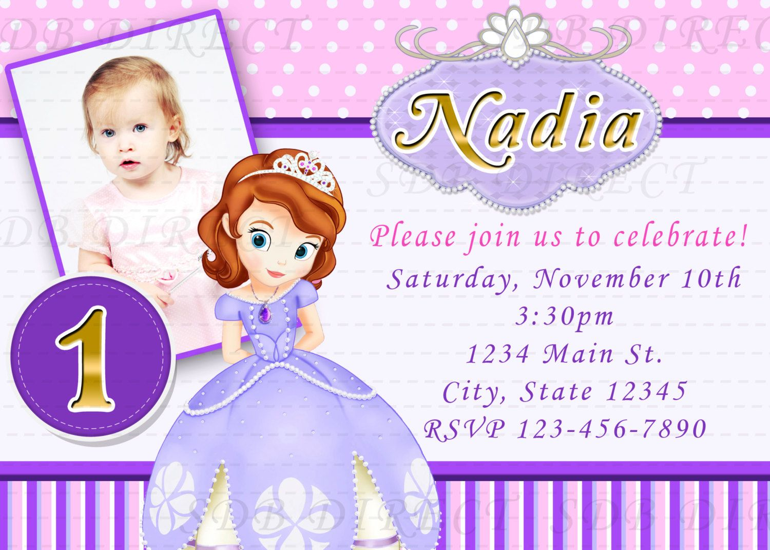 Cute sofia the first digital birthday party invitations diy print cute sofia the first digital birthday party invitations diy print 999 via etsy stopboris Images