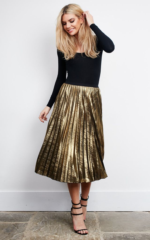 Gold Metallic Pleated Skirt | Metallic pleated skirt