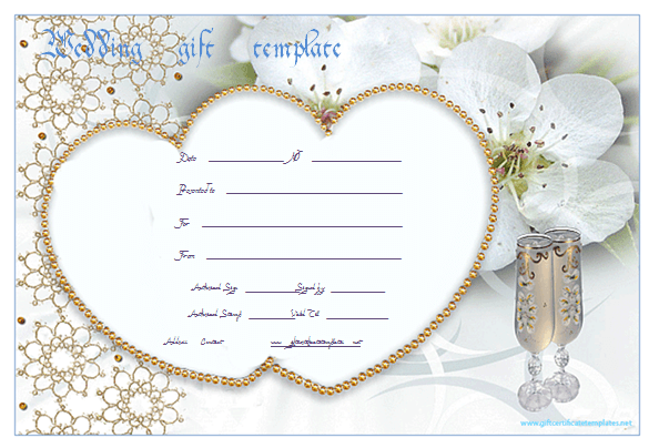 Pearlheartweddinggiftcertificatetemplate – Wedding Gift Certificate Template