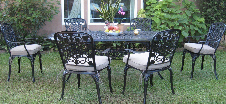 Amazon com outdoor cast aluminum patio furniture 7 piece dining set f cbm1290 patio lawn garden