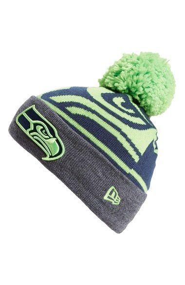 7791e8a9 Men's New Era Cap 'Logo Whiz - Seattle Seahawks' Pompom Knit Beanie ...
