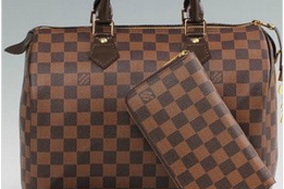 $122 - New Louis Vuitton Speedy damier doctor purse bag with matching damier zipper wallet set
