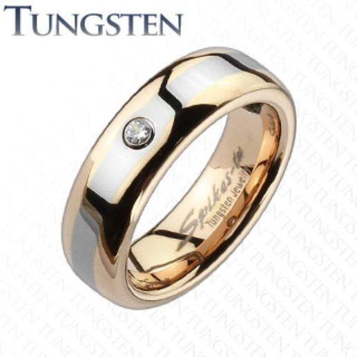 Womens Tungsten Rose Gold Ip 2 Tone Cz Band Ringwedding