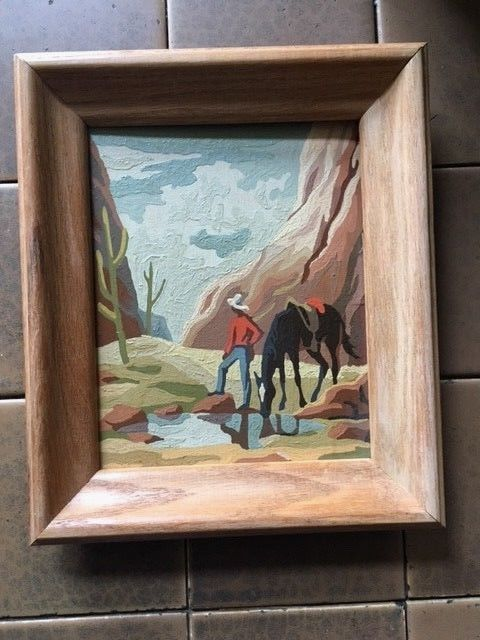 Vintage Paint By Number Canvas Cowboy Western Wood Frame 8 x 10 ...