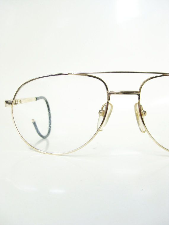 9cee9b76508 Vintage Mens Wire Rim Aviator Eyeglasses Gold Golden Shiny 1970s 70s  Seventies Oversized Huge Sunglasses Sunnies Retro Deadstock Guys