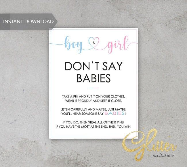 Twins boy and girl baby shower, Dont Say Baby, Printable Diaper Pin, Clothes Pin Game, Printable boy Dont Say Baby, CY034