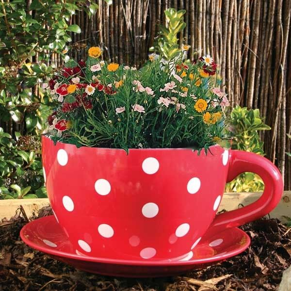 Giant Red With White Polka Dots Tea Cup Planter Red And White
