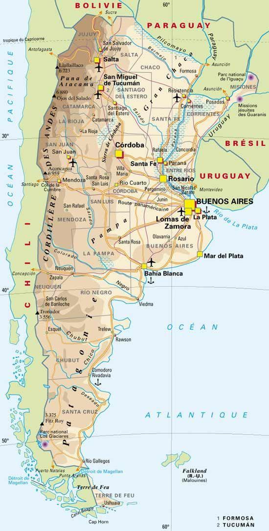 carte de l argentine CARTE de l' ARGENTINE | Argentine voyage, Chili patagonie et Argentine