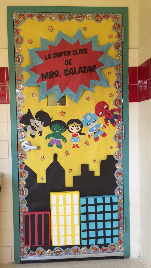 Superhero Theme Bilingual Classroom Door Superhero