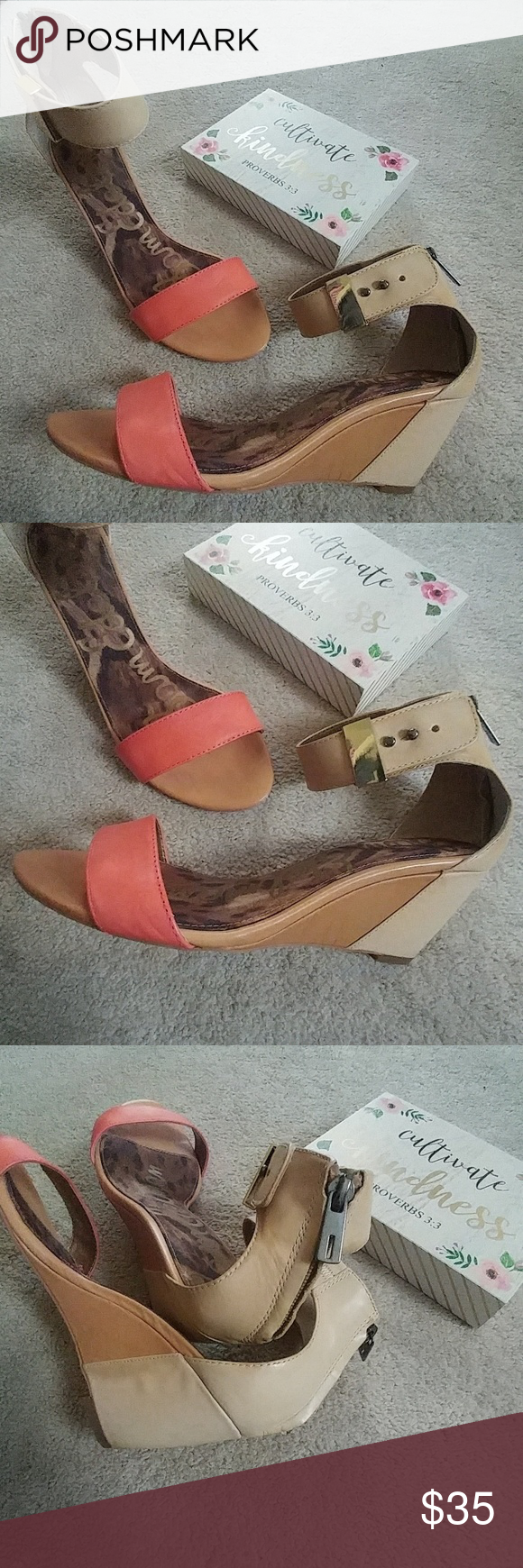 Sam Edelman Sophie Low Wedge Sandals These cowhide leather low wedge sandals features a back zip and button ankle closure. Covered wedge heel 2.5 inch heel Color is Persimmon/Natural Worn once but there's a few scuffs on the left shoe (see pics 5&6). Not noticeable on but wanted to point it out. Otherwise these are in pristine condition Sam Edelman Shoes Heels #lowwedgesandals Sam Edelman Sophie Low Wedge Sandals These cowhide leather low wedge sandals features a back zip and button ankle closur #lowwedgesandals