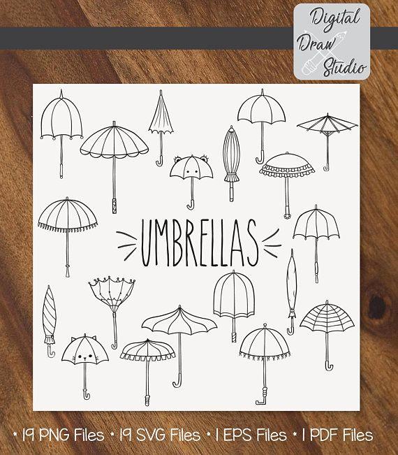 38 Umbrella Clip Art   Hand Drawn Vintage Beach Parasol Vector Graphics   Broken Umbrella Outline Drawing Illustration   Png Eps Pdf Svg Dxf
