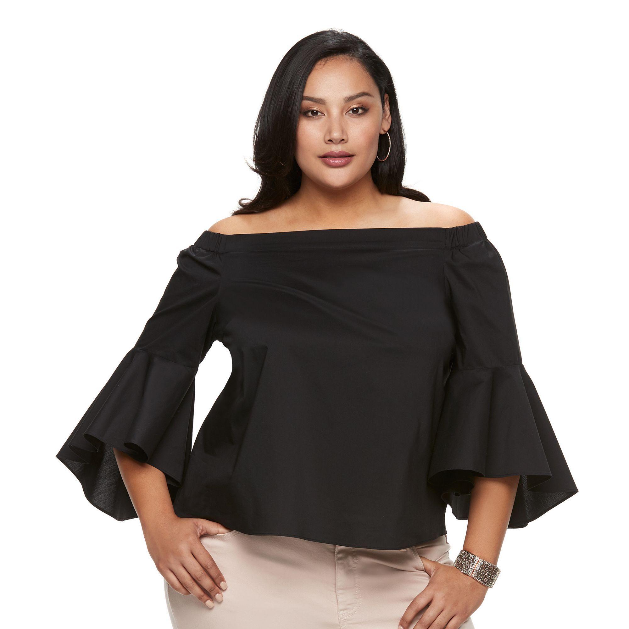 12575393939 Plus Size Jennifer Lopez Solid Off-the-Shoulder Top, Women's, Size: 3XL,  Black