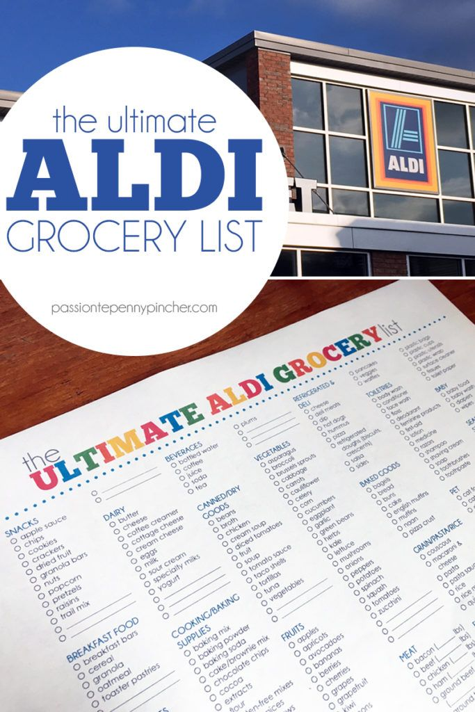 free printable  the ultimate aldi grocery list