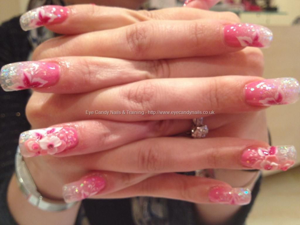 Glitter acrylic fade with 3d nail art and one stroke nail art ...