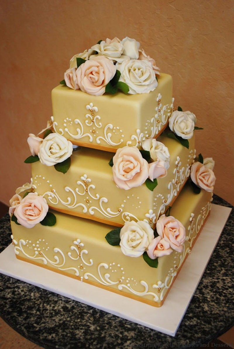 Marzipan with Gold Accents and Handmade Roses | Cakes ~ Highly ...