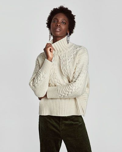 16aa5bb2 $59.90 CABLE-KNIT SWEATER WITH HIGH COLLAR-Sweaters-KNITWEAR-WOMAN | ZARA  United States