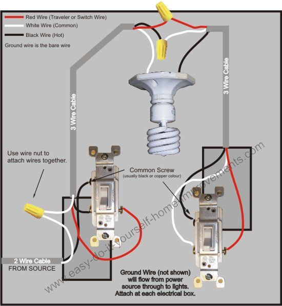 Way Switch Wiring Diagram DIY Pinterest - Wiring diagrams 3 way switch