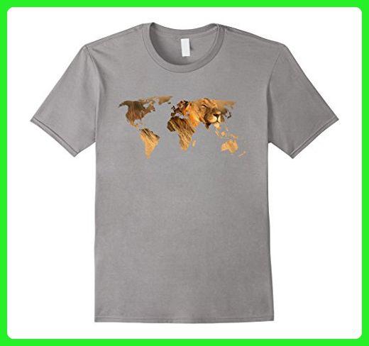 Mens light color t shirt lion world map t shirt for lion lovers mens light color t shirt lion world map t shirt for lion lovers gumiabroncs Gallery