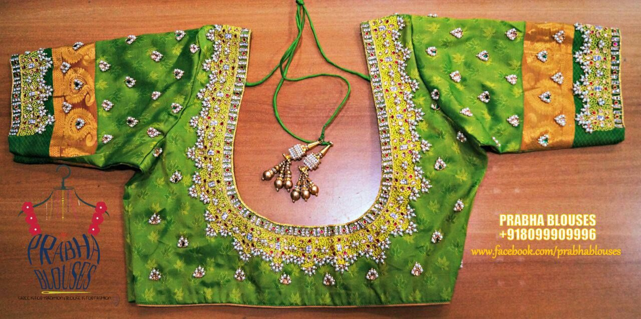 dc1452483e193 Beautiful parrot green color designer blouse with hand embroidery  guttapusala design.
