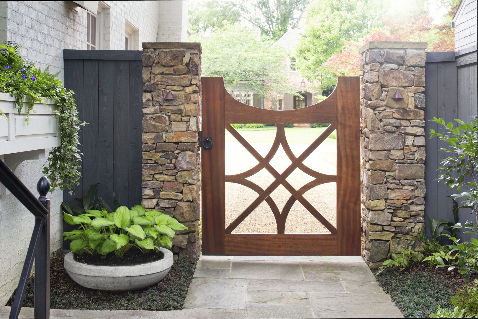 Driveway Entrance Landscaping Entryway Wrought Iron