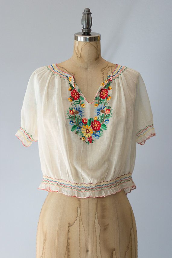 b541cc776fc Vintage 1950s white cotton cropped boho blouse amazing rainbow embroidered  floral details and gathered waist. ✂ ✂ ✂ M E A S U R E M E N T S ✂ ✂ ✂