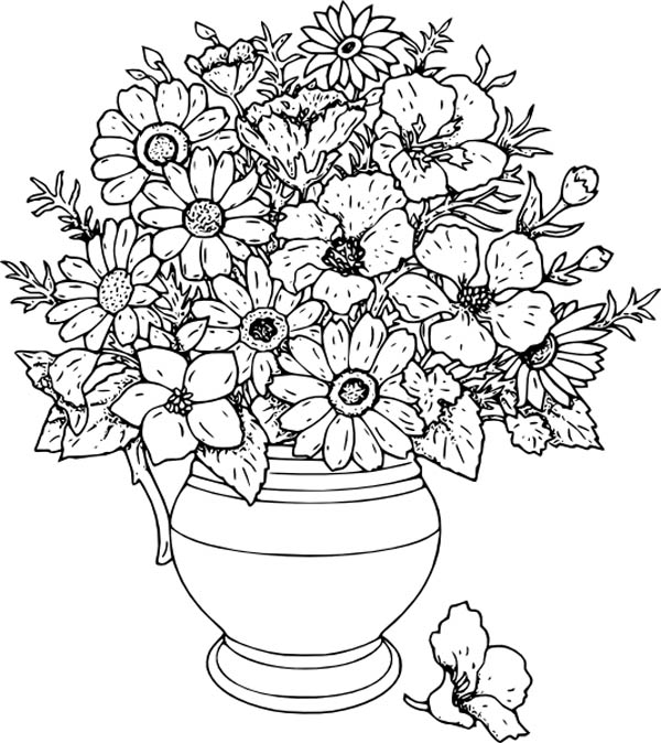Beautiful Flower Vase Coloring Page Coloring Sky Printable Flower Coloring Pages Flower Coloring Pages Coloring Pages For Grown Ups