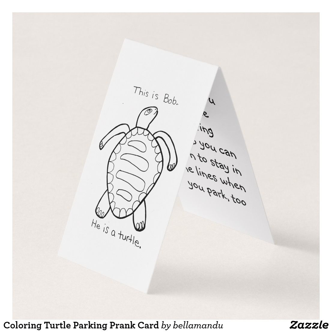Coloring Turtle Parking Prank Card Zazzle Com Cards Pranks Color