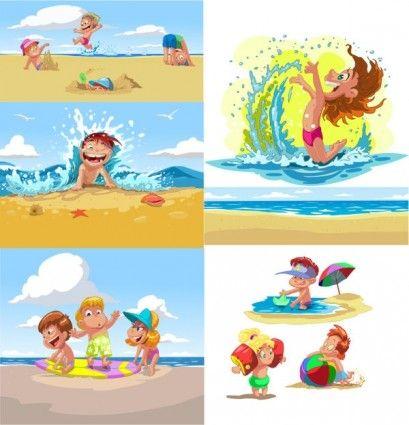 Vector De Dibujos Animados Los Niños Verano Playa Dibujos Animados