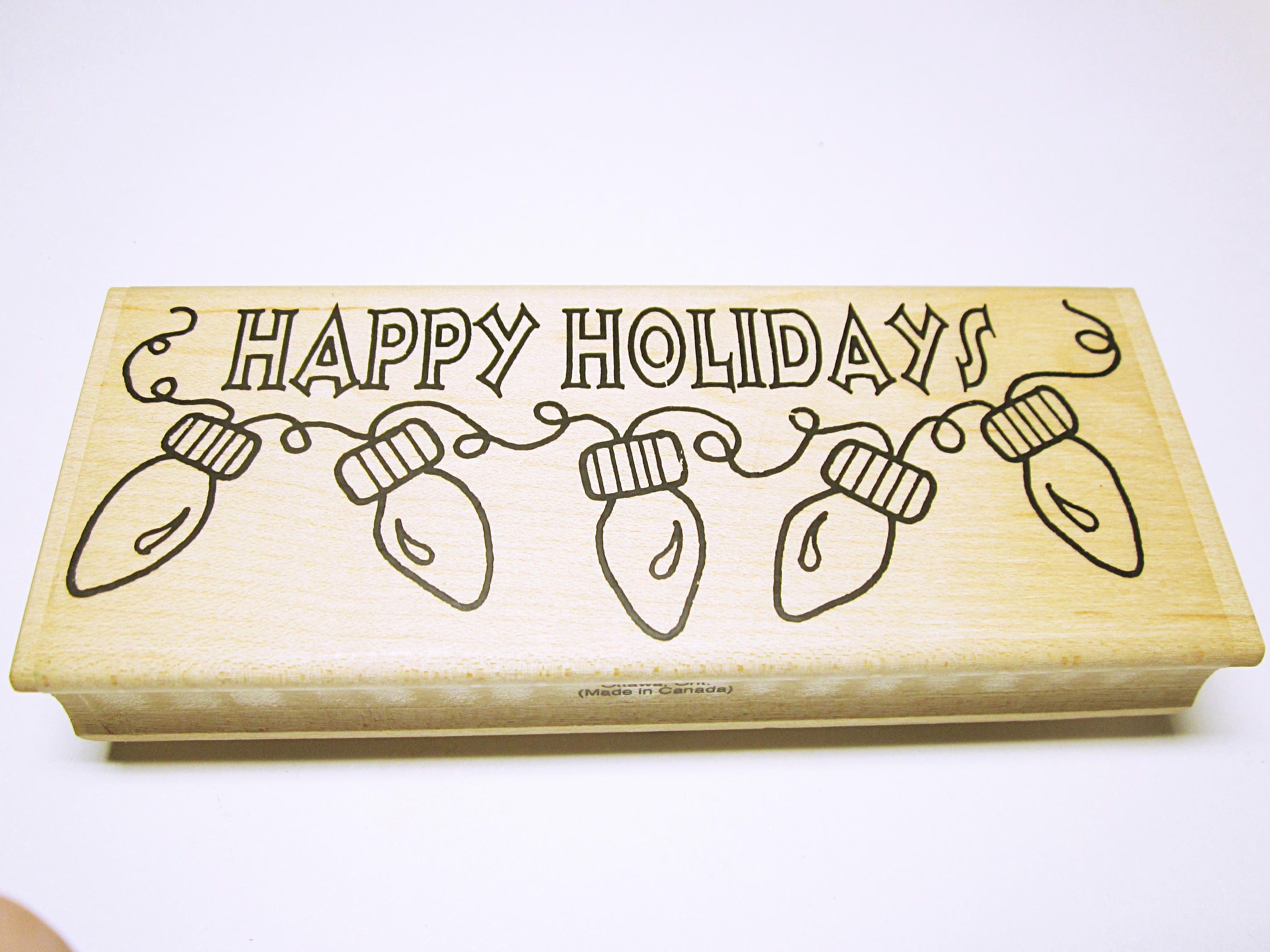 Happy Holidays Word Quote Christmas Stamps Rubber Stamp Supplies ...