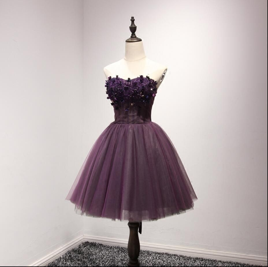 Strapless purple lace homecoming prom dresses affordable short