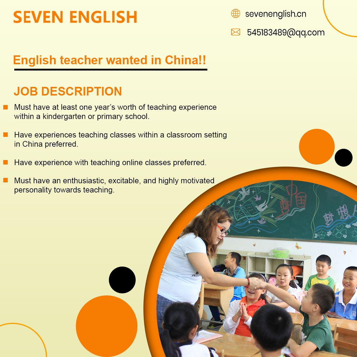 English Teacher Wanted In China Job Description Must
