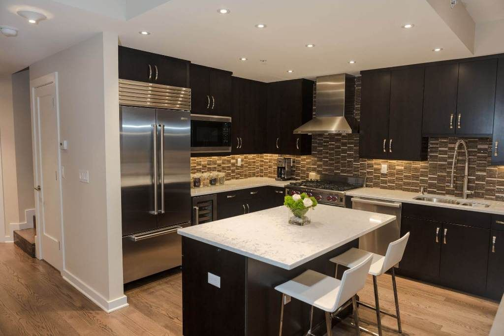 kitchen: small kitchen decorating ideas with brown mosaic backsplash