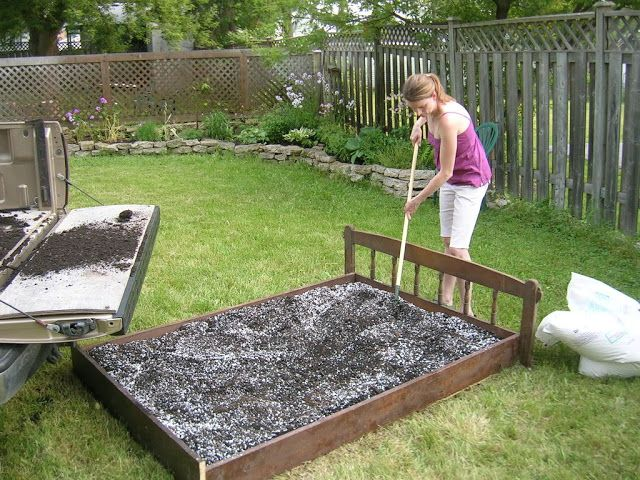 Old bed frame from goodwill for raised garden bed. | Yard and Patio ...