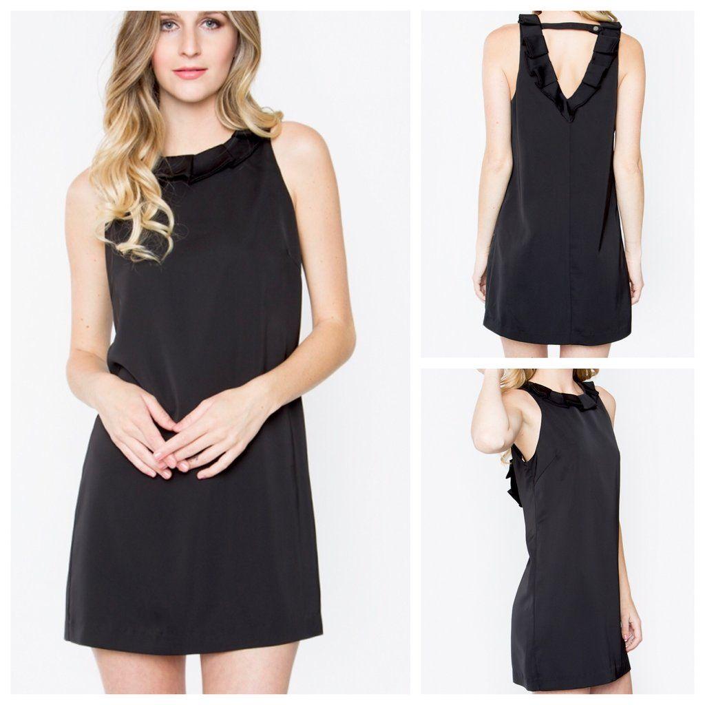 4180c1edee33 Black Sleeveless Ruffle Shift Dress with V Back Jumpsuit Dress
