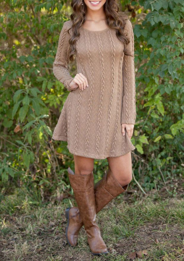Long-Sleeved Knit Sweater Dress in Light Tan or Cream | Fall ...