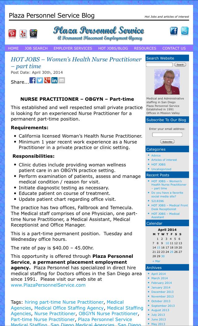 Hot Jobs Blog Plaza Personnel Service Medical Jobs Medical Receptionist Nursing Jobs