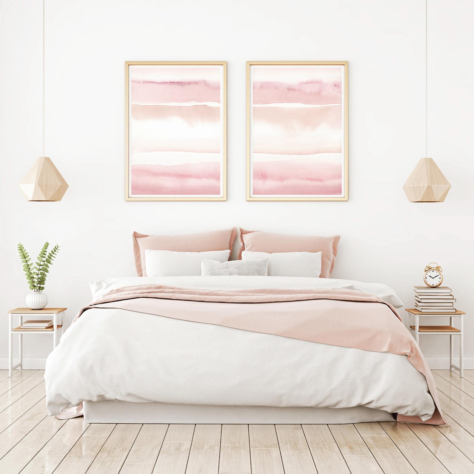Blush Pink Painting Set Of 2 Abstract Watercolor Print Etsy