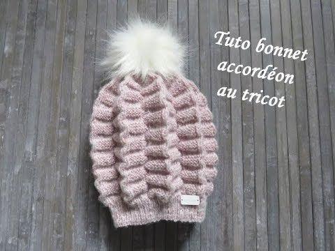 ca655c2d2ff (235) TUTO BONNET ACCORDEON AU TRICOT stitch 3d hat knitting GORRO ACORDEON  PUNTO RELIEVE DOS AGUJAS - YouTube