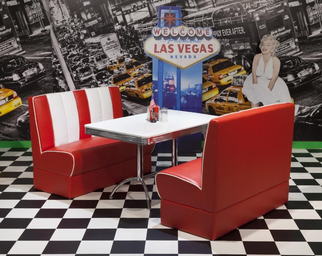 American Diner Furniture 50s Style Retro Table And Red Booth Set