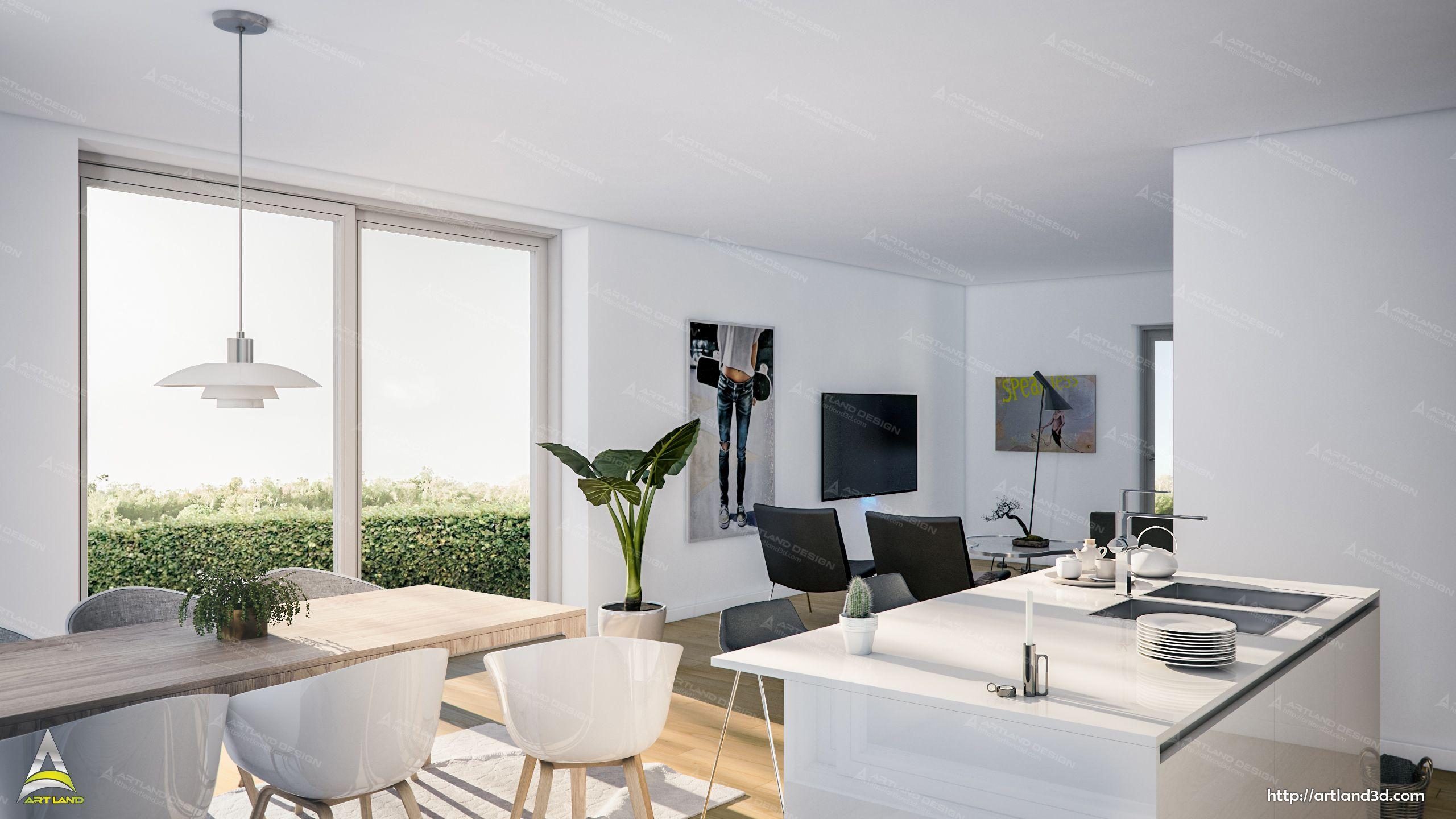 Apartment Interior Design Modern Living Room 3d Visualizaiton