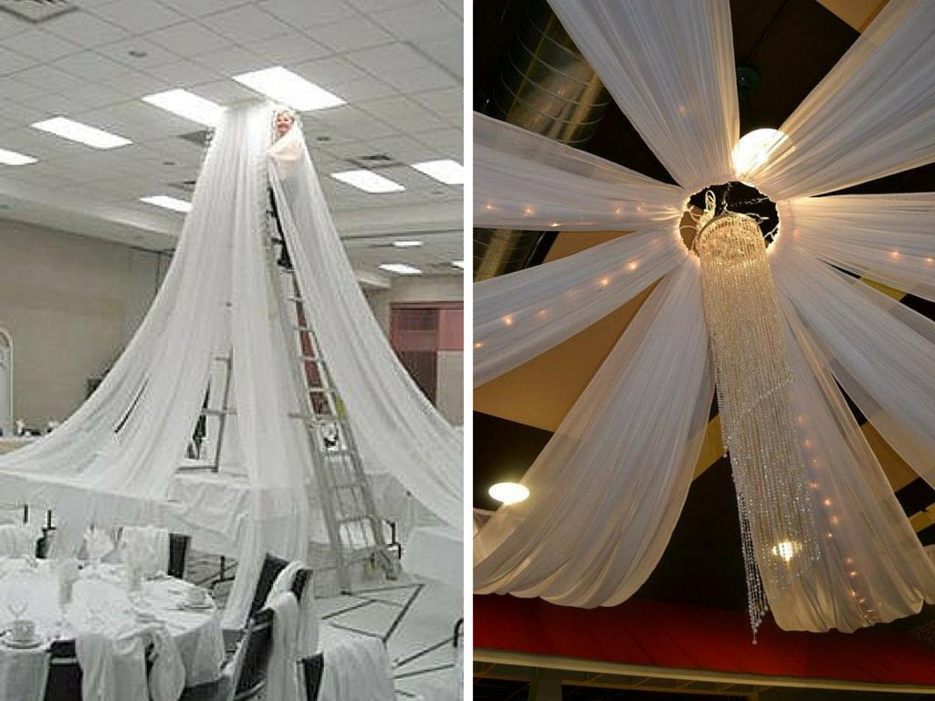 astuce d coration mariage comment habiller le plafond moche et remoche de la salle de son. Black Bedroom Furniture Sets. Home Design Ideas