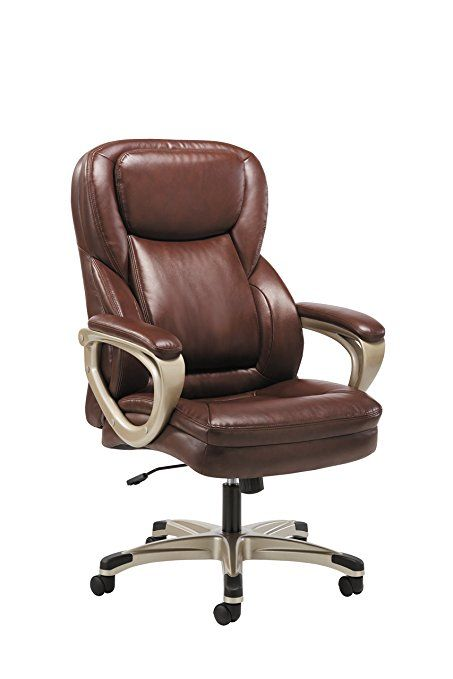 Sadie Executive Computer Chair  Fixed Arms For Office Desk, Brown Leather  (HVST326)