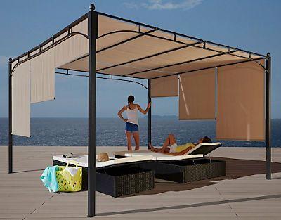 Pavillon Paros Flachdachpergola 3 5 X 3 5 M Kaufen Universal At Hinterhof Terrassen Designs Pavillon Terassenentwurf