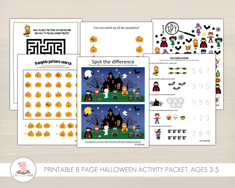 Printable Kids Halloween Activity Packet Pumpkin Matching