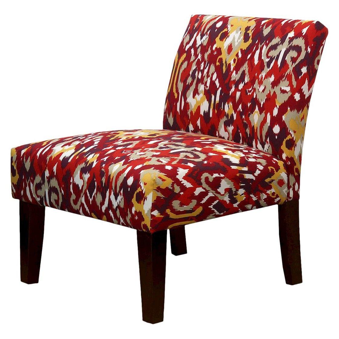 Avington Upholstered Slipper Chair Red Ikat Chair