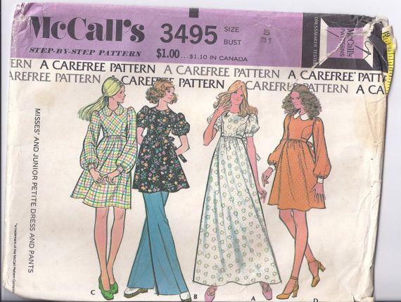 Vintage Pattern 1973 MCalls 3495 Junior Petite Size 5 Bust