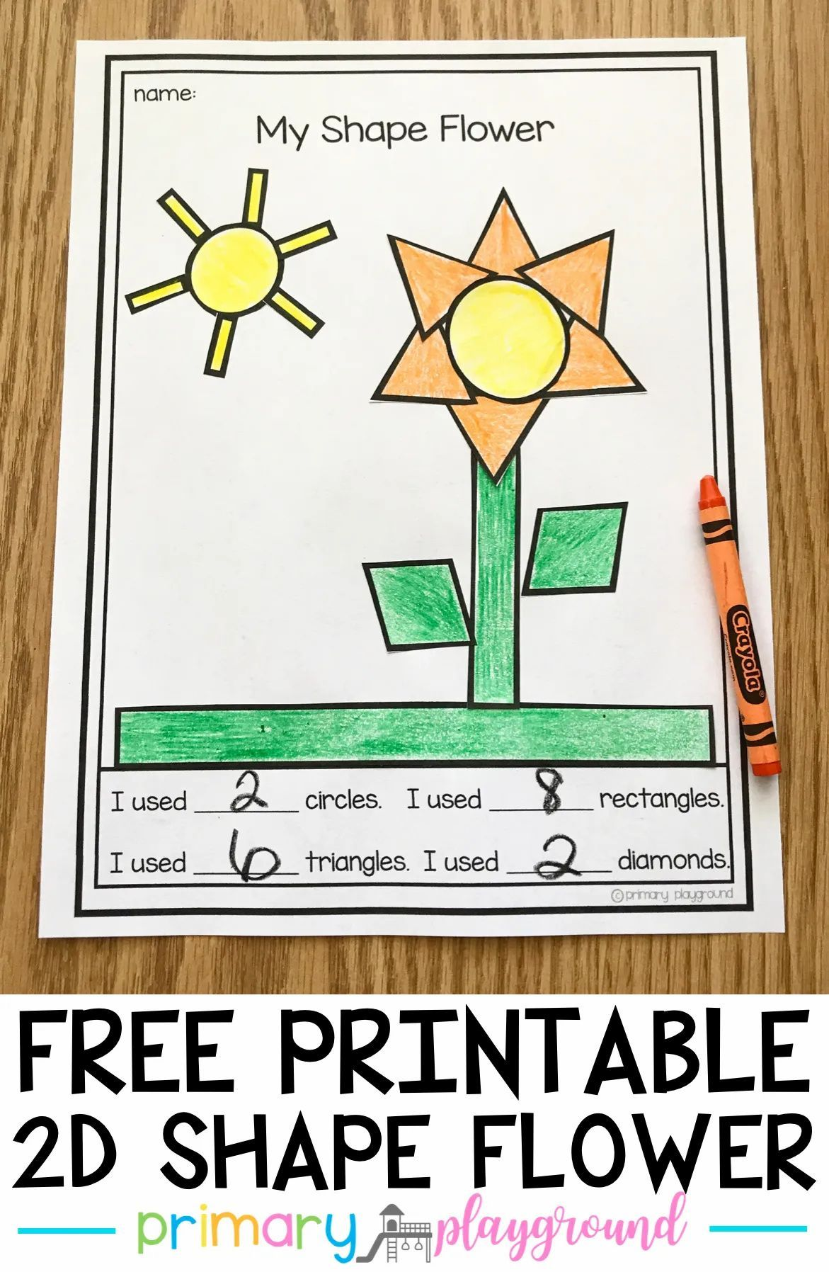 Free Printable 2d Shape Flower Primary Playground In 2021 Teaching Shapes Teaching Blogs 2d Shapes [ 1796 x 1171 Pixel ]