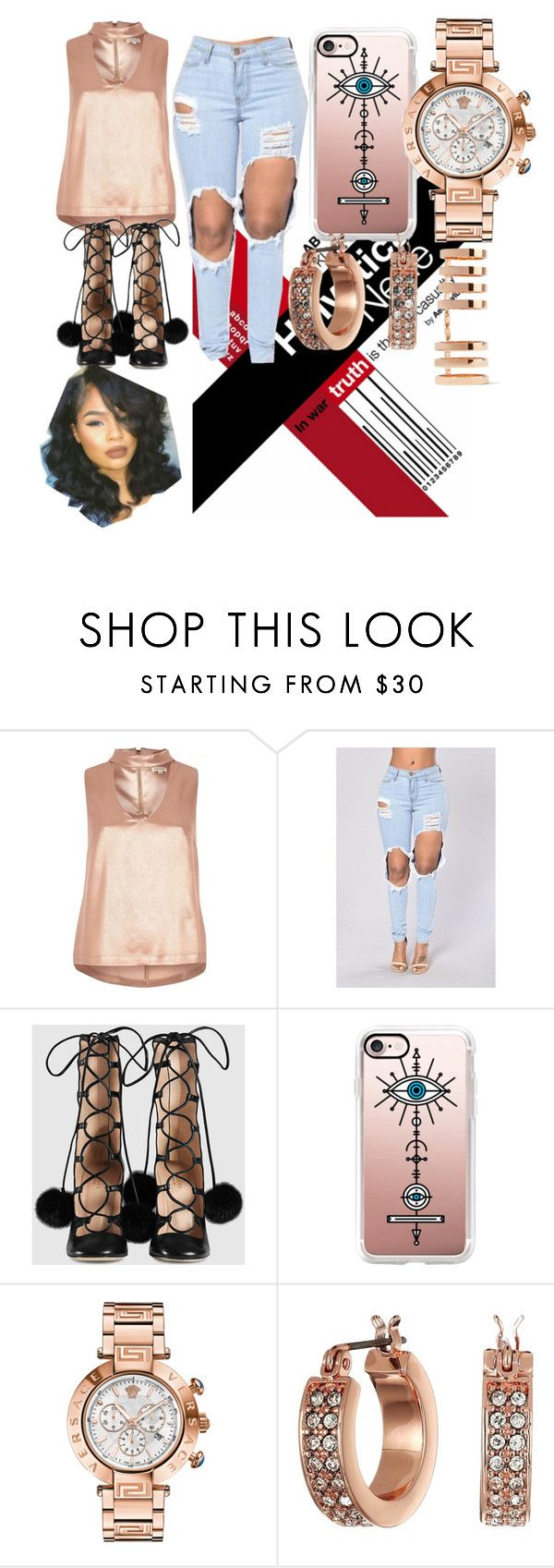 """""""Untitled #465"""" by wade00 on Polyvore featuring River Island, Gucci, Casetify, Versace, Lauren Ralph Lauren and Repossi"""