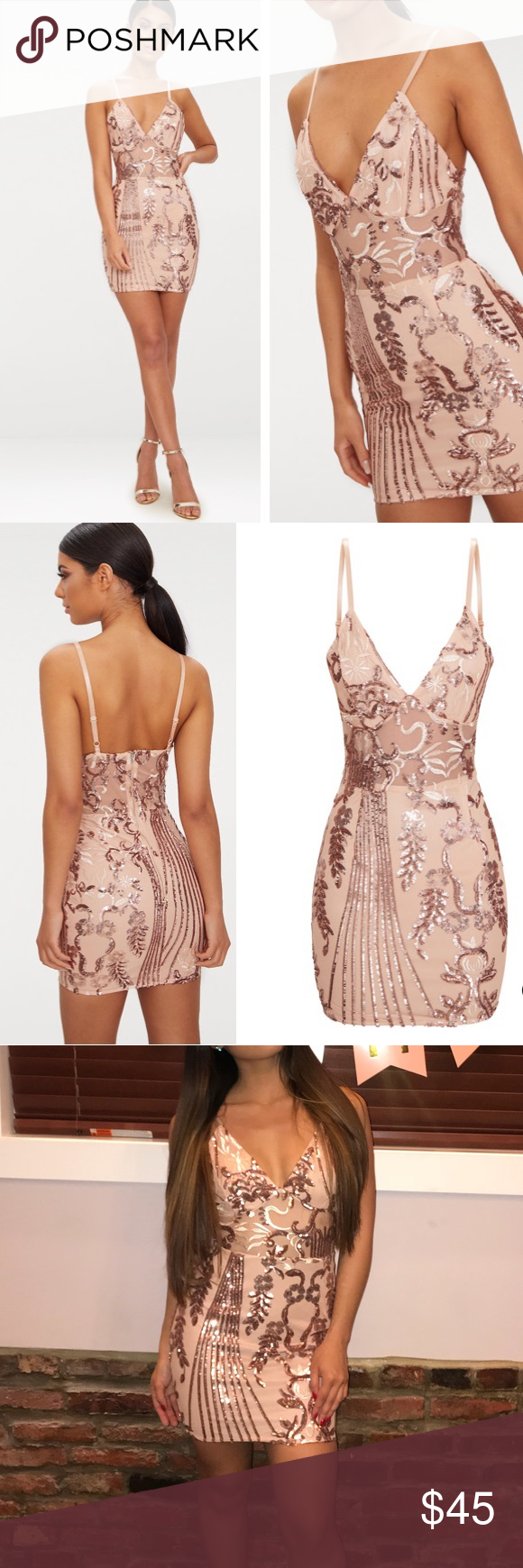 2ec0c568 Rose Gold Sheer Strappy Panel Sequin Bodycon Dress Worn once for a few  hours and received so many compliments. Great birthday dress. From  PrettyLittleThings ...